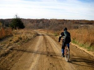 The author reconning a Trans Iowa route by bicycle. Image by D. Pals