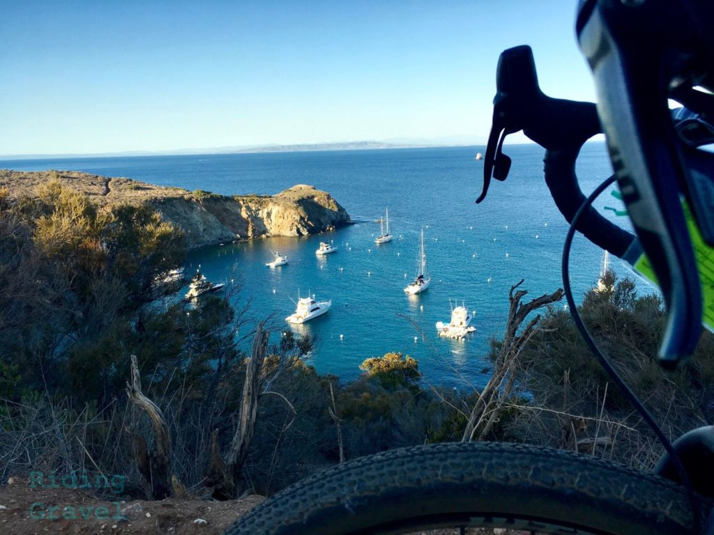 Overlook on Catalina Island looking at a harbor filled with sailing vessels.