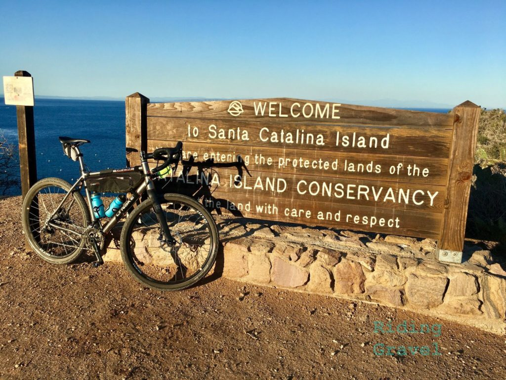 Grannygear's bike at the Catalina Island conservancy sign.