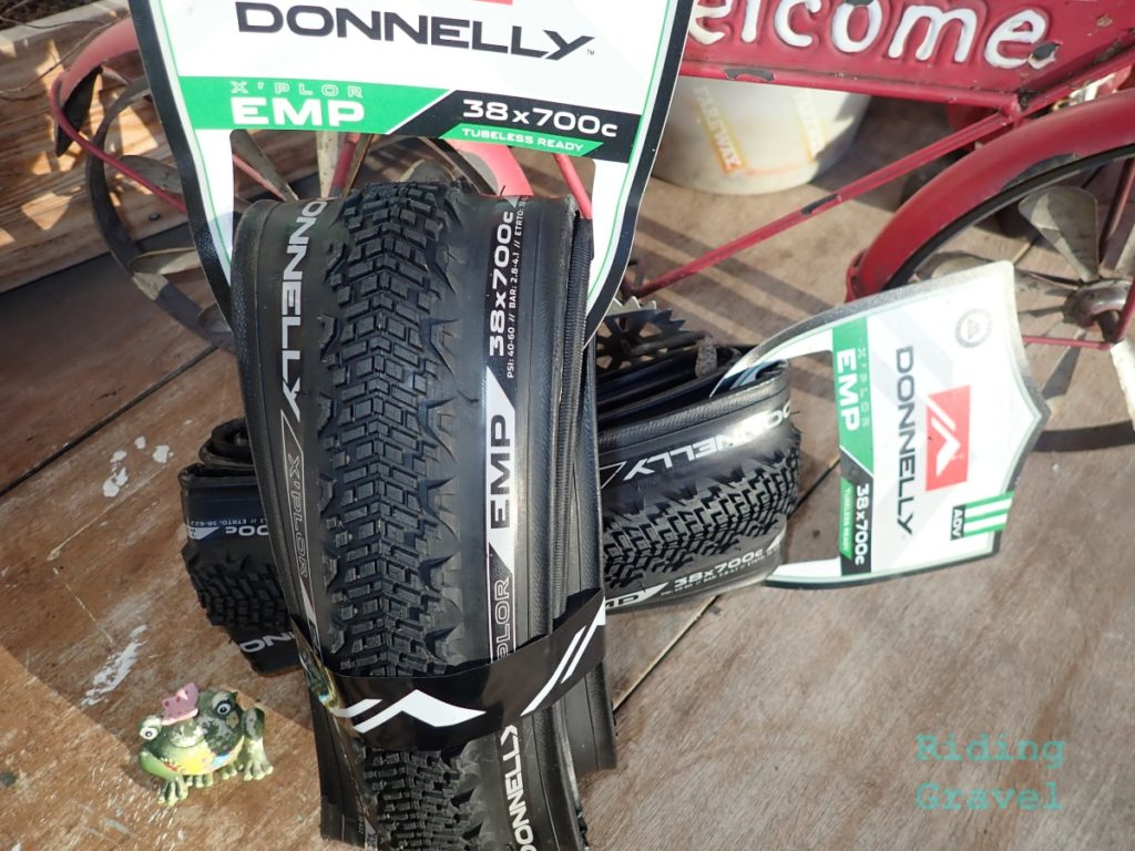 Donnelly EMP 700c X 38mm tires in their point of purchase packaging.
