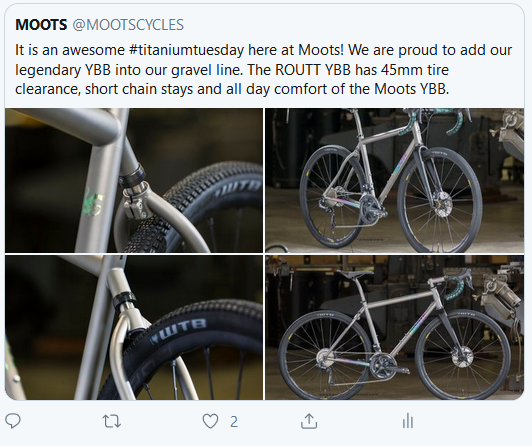 Tweet from Moots about the new ROUTT 45 with YBB.
