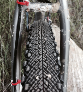View of the tread on a WTB Venture 650B X 47mm tire