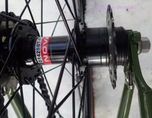 Shot showing the freehub, spacers, and single speed cog