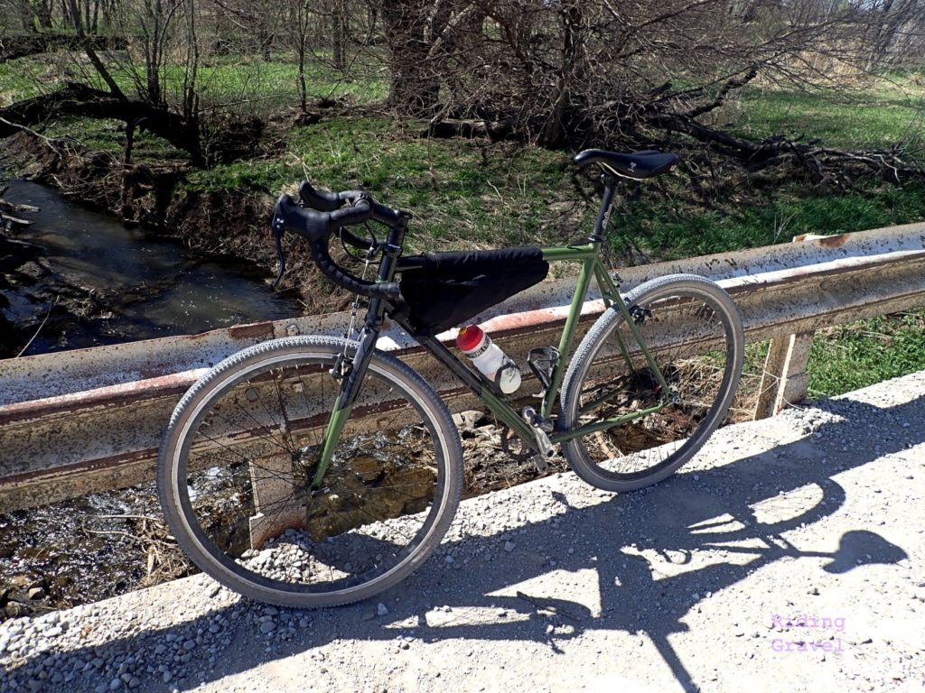 The State Bicycle Comapy's Warhawk on a rural bridge.