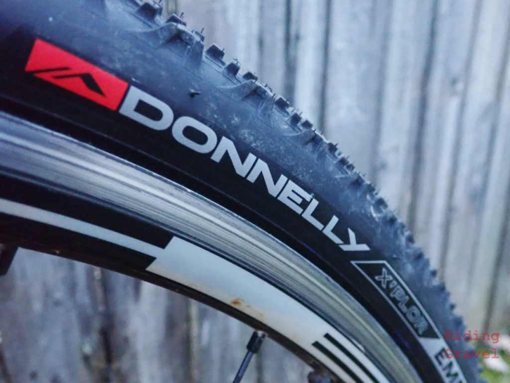 Close up of the branding on the Donnelly EMP tire