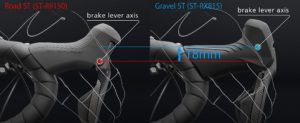 The differences between current road and GRX levers