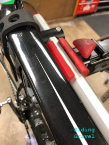 A veiw of the repair stand clamp holding the Hirobel Clamp