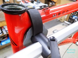 A detail shot of the Hirobel clamp cradle.