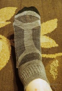 Guitar Ted's foot in a Hiwassee Trading company sock