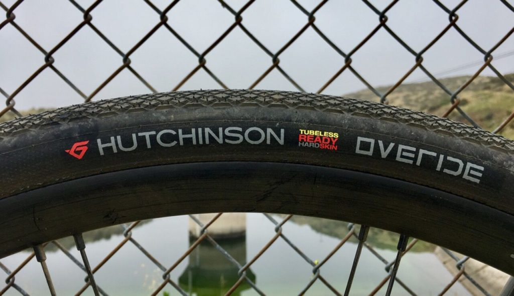 Close up of the hot patch on a Hutchinson Overide tire