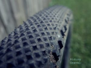 Detail shot of tread on a 700c X 40mm IRC Boken
