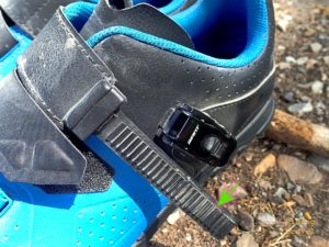 Detail of strap and ratcheting buckle on the Giant Line shoe