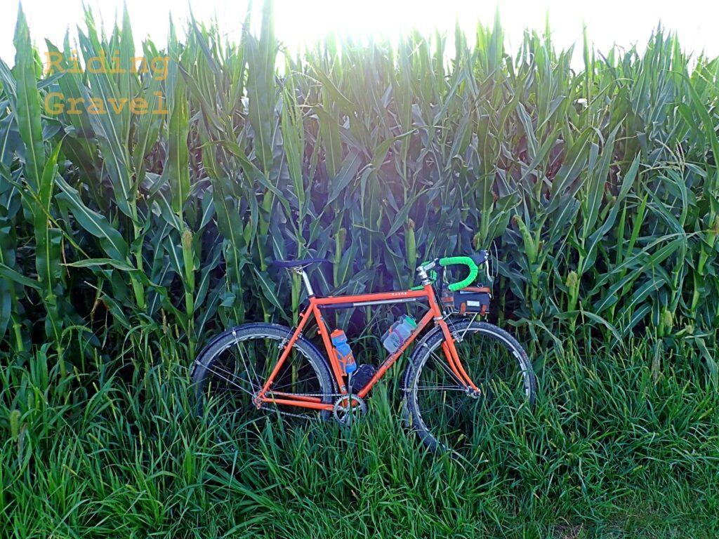 Green 3.2mm DSP Lizard skins bar tape on an orange bike in a rural setting