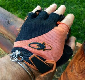 Grannygear modeling the Aramus Elite glove