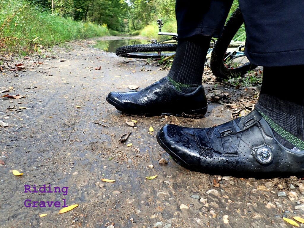 Guitar Ted modeling the Shimano RX8 gravel shoes