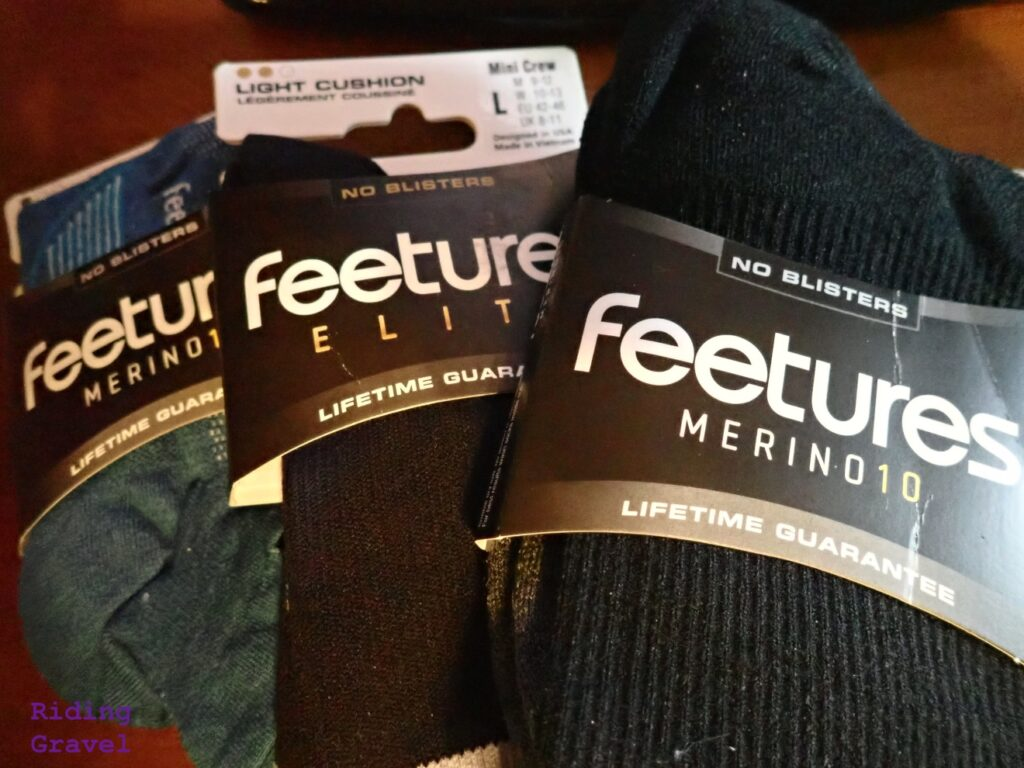 Selection of Feetures socks.