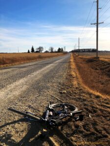 A bicycle and gravel road view