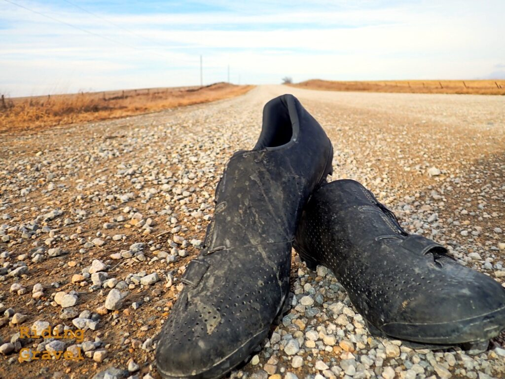 Shimano RX8 Gravel shoes on a gravel road