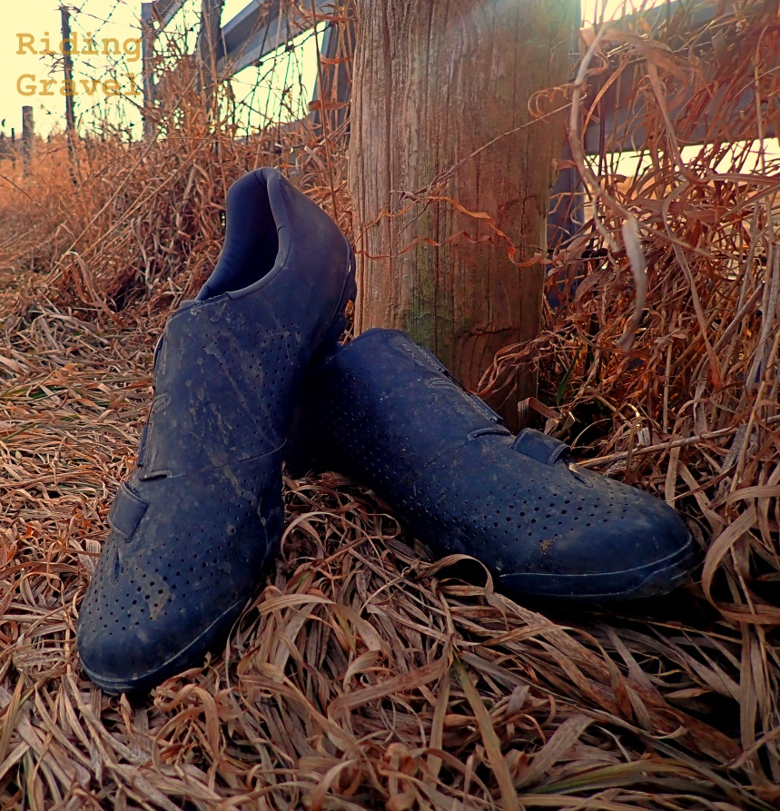 RX8 shoes in dead grass in a ditch