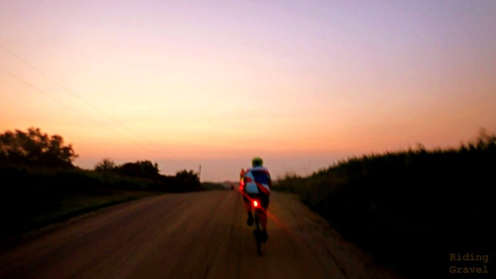 Rider and sunrise scene
