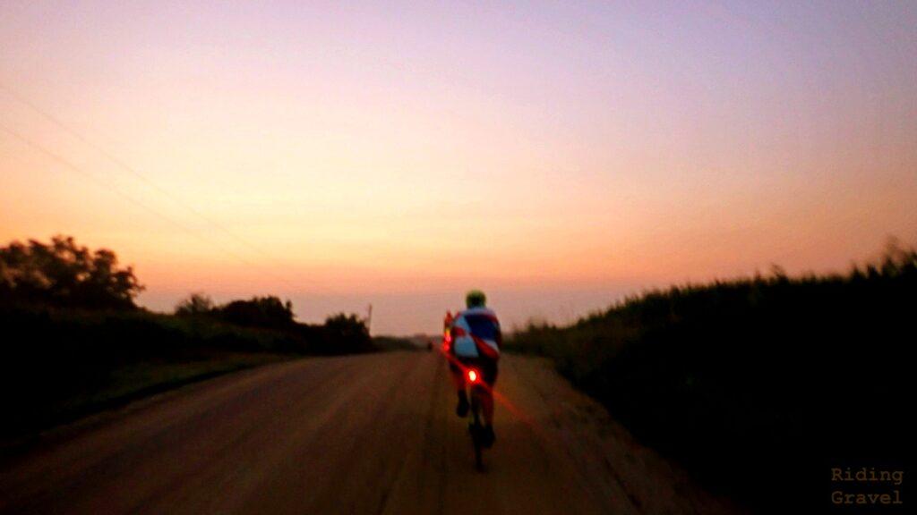 Rider and sunrise scene