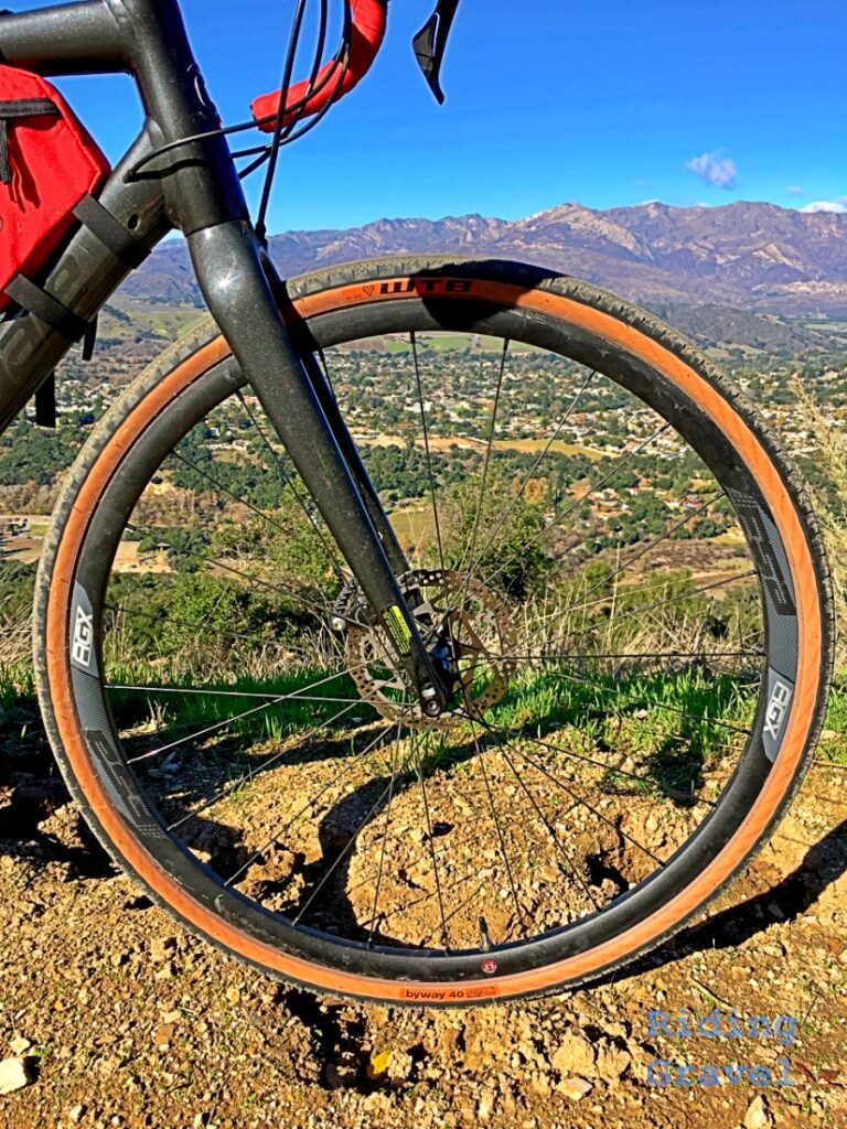 Bicycle wheel with mountain view
